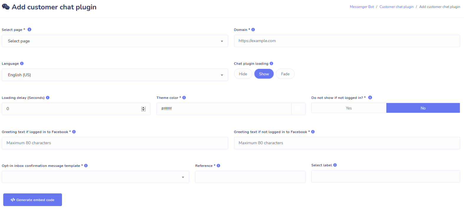 Messenger Bot Customer Chat Plugin
