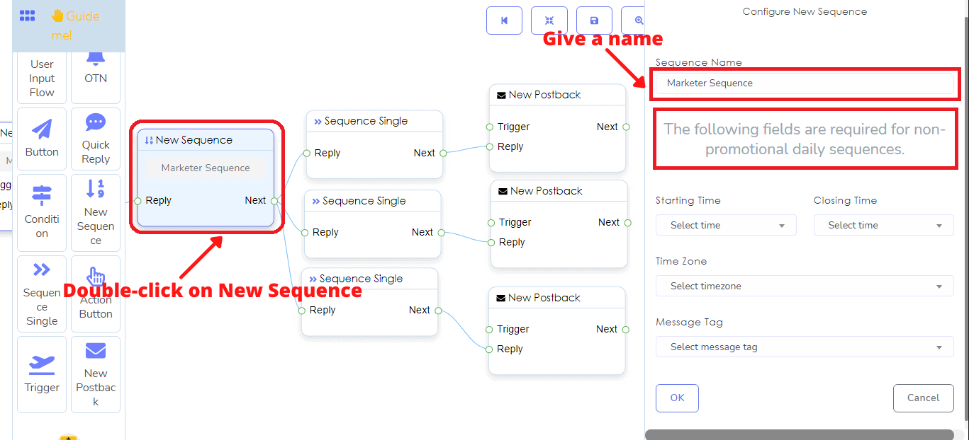 How To Send Sequence Messaging With Messenger Bot's Flow Builder 8
