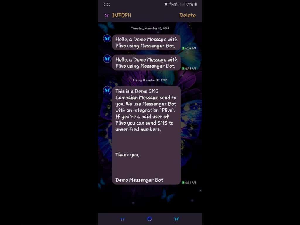 Messenger Bot SMS Gateway Integration Using Plivo 11
